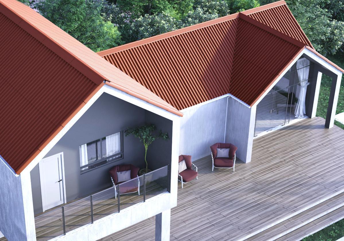 Onduline Stilo® | foto de casa com a  telha ecológica na cor vermelha