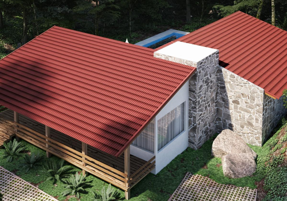 Onduline Stilo 3D® | foto de casa com telha ecológica na cor vermelha 3D