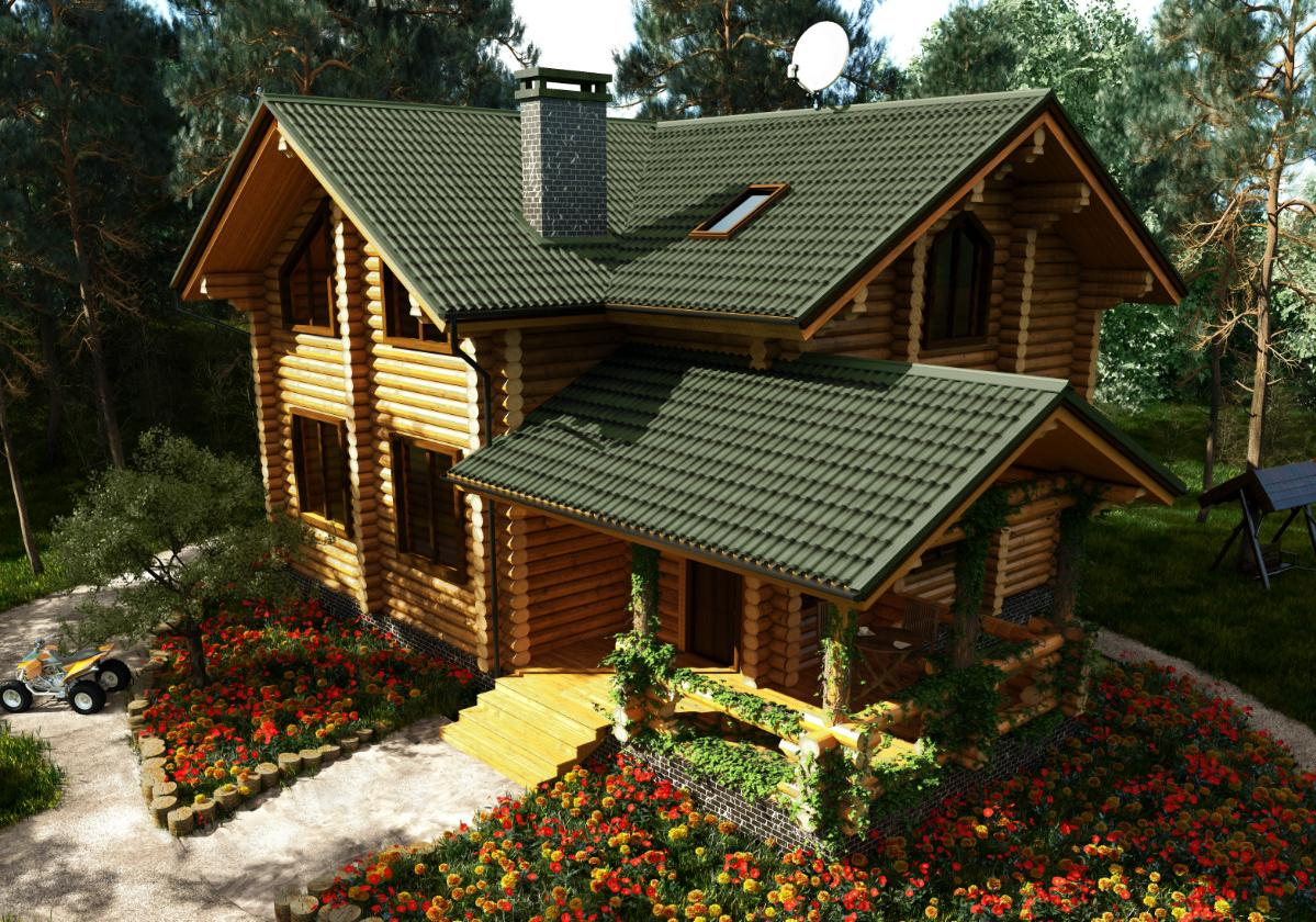 Onduline Stilo 3D® | foto de casa com telha ecológica na cor verde 3D