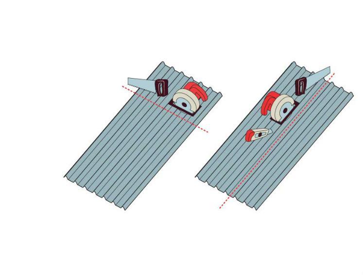 Ilustração mostrando cortes na telha