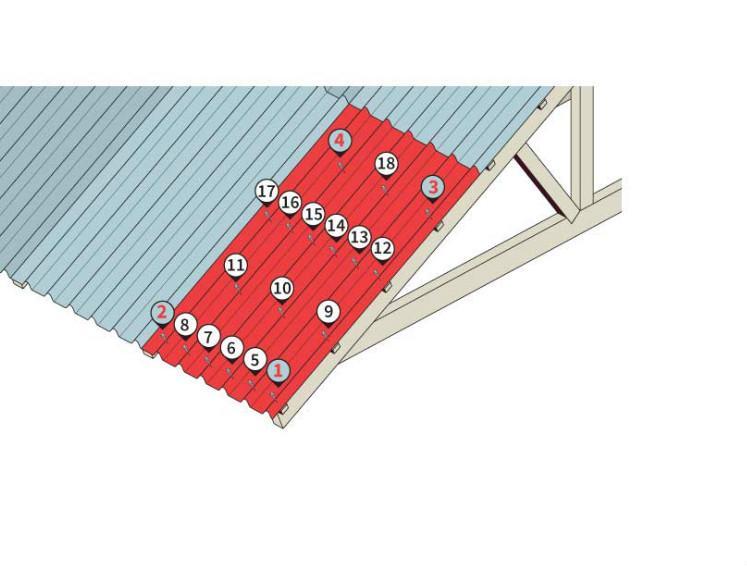 Ilustração mostrando como fixar as telhas ecológicas
