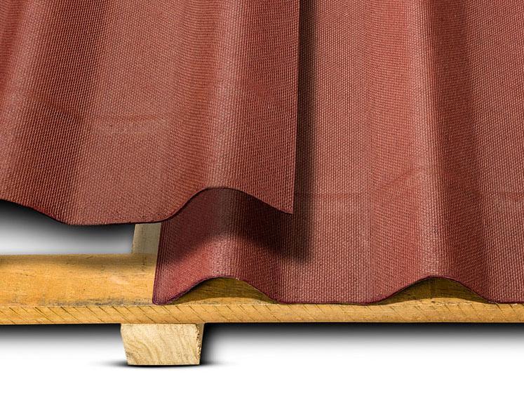 Detlahes de relevos na extremidade da telha ecológica stilo cor vermelha