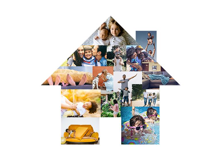 Ilustração em formato de casa feito com colagem de fotos de familias