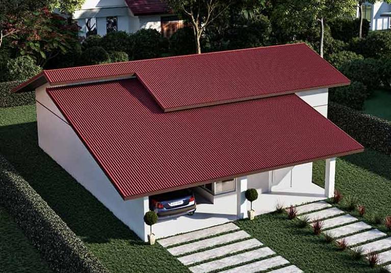 Foto de uma casa de perfil com Telhas Ecológicas Onduline modelo Clássica, na cor vermelha