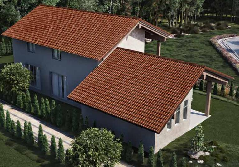 Foto de uma casa de perfil com Telhas Ecológicas Premium Onduvilla, na cor Fiorentino