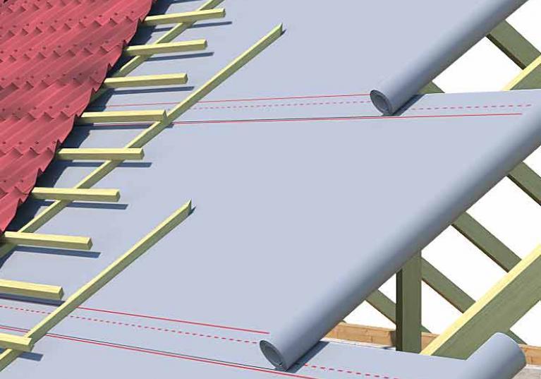 Ilustração de uma construção com a Manta Térmica Onduline Termofoil, na cor alumínio