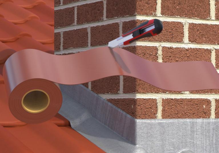 Ilustração com aplicação de fita asfáltica Onduband na cor vermelha