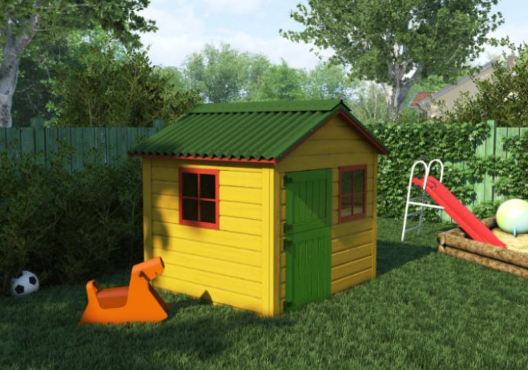 Casinha de crianças com telha ecológica clássica fit verde