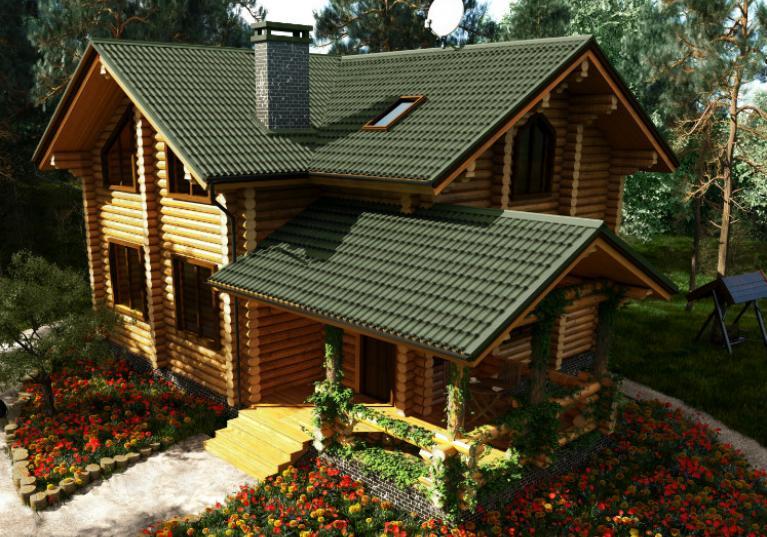 Foto de casa com telha ecológica Onduline Stilo 3D