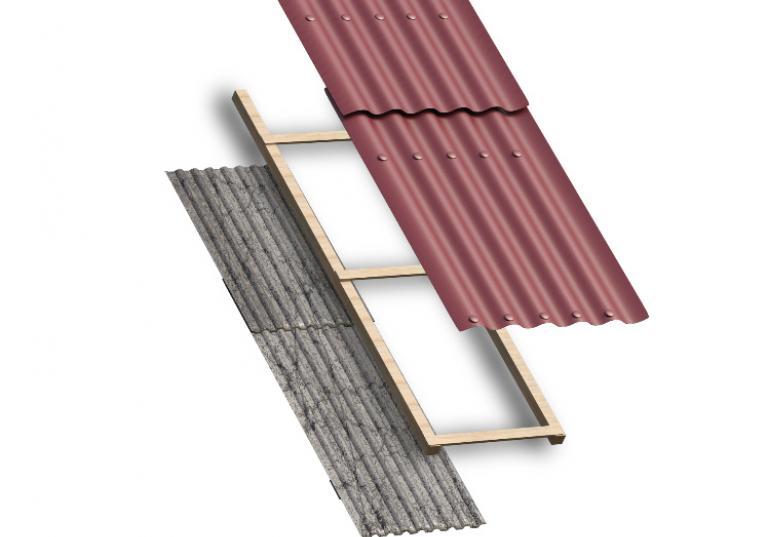 Ilustraçao de sistema de sobrecobertura de telhas ecologicas sobre telhas de fibrocimento