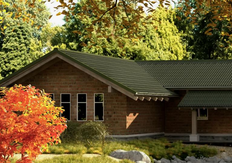 Imagem de casa de campo com telha ecológica Onduline Stilo 3D