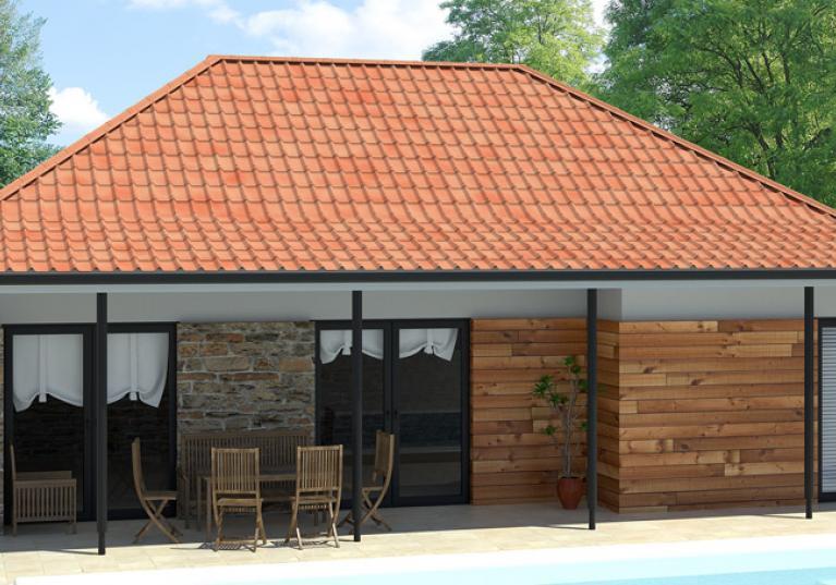 Casa com telha ecológica premium Onduvilla cor fiorentino