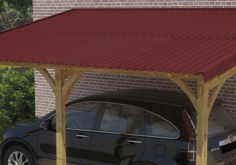 Abrigo para carro feito com telha ecológica Stilo cor vermelha