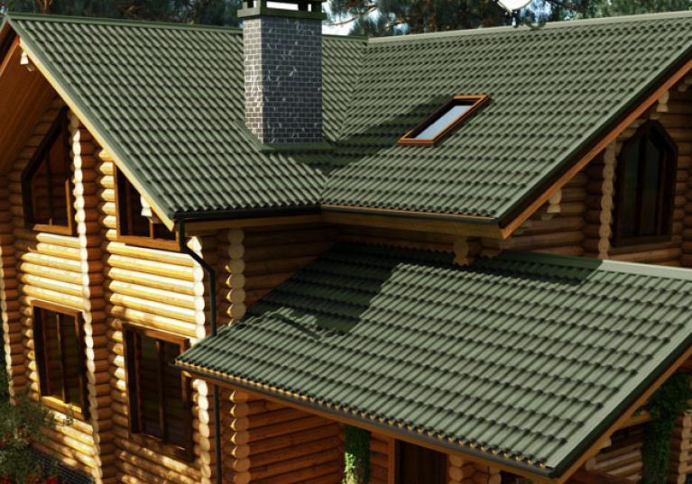 imagem de casa de campo com telha ecológica Stilo 3D cor verde