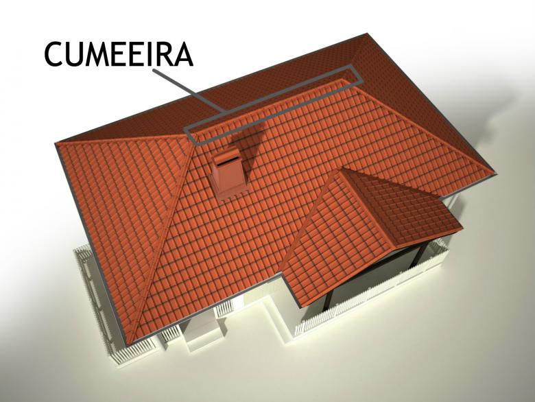 Desenho de telhado com indicação de cumeeira