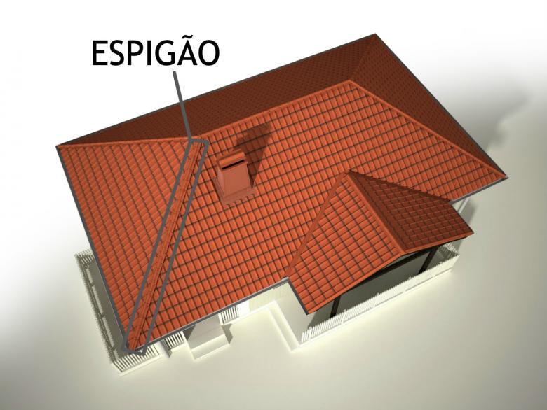 Desenho de telhado com destaque para espigão